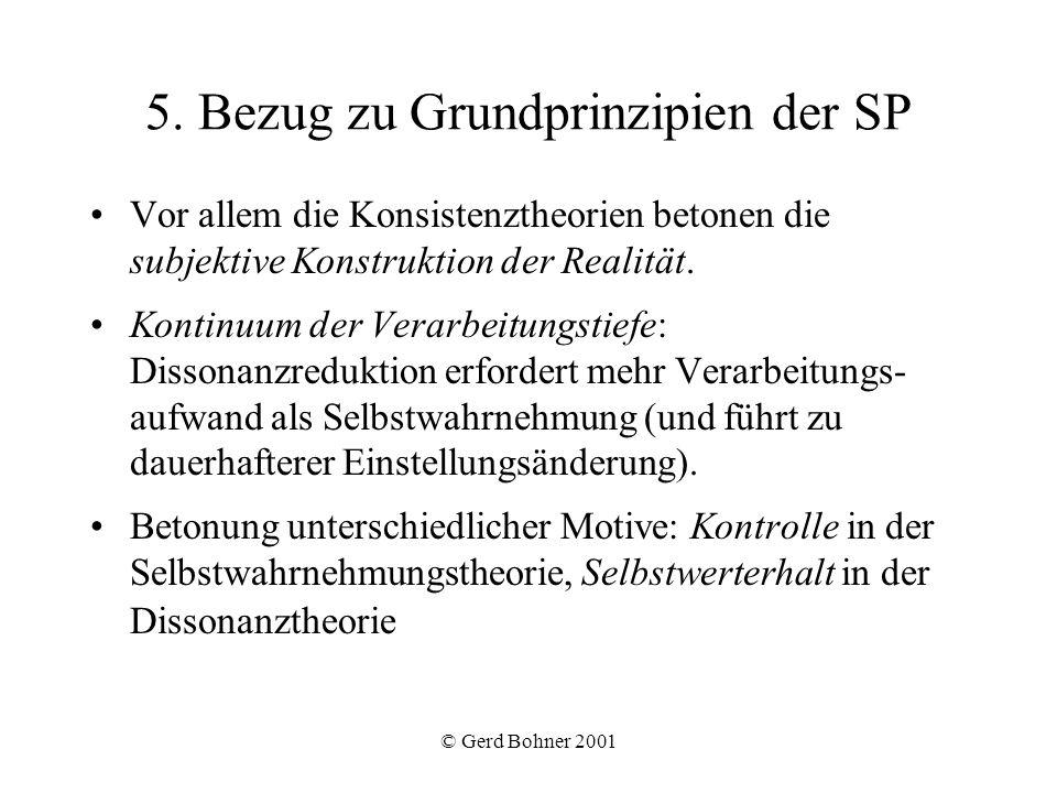 © Gerd Bohner 2001 5. Bezug zu Grundprinzipien der SP Vor allem die Konsistenztheorien betonen die subjektive Konstruktion der Realität. Kontinuum der