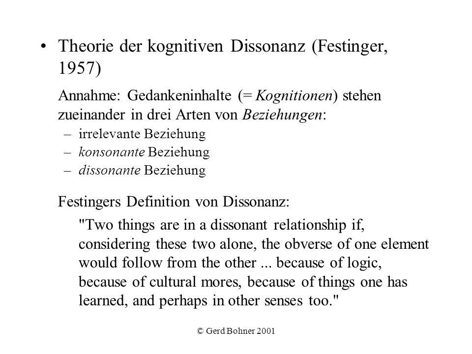 © Gerd Bohner 2001 Theorie der kognitiven Dissonanz (Festinger, 1957) Annahme: Gedankeninhalte (= Kognitionen) stehen zueinander in drei Arten von Bez