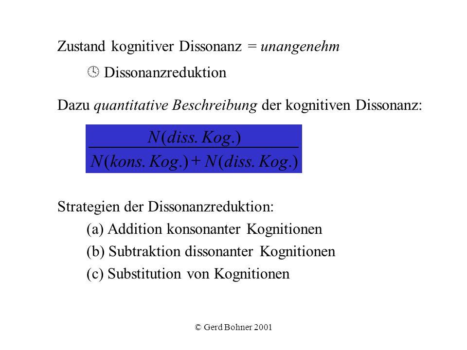 © Gerd Bohner 2001 Zustand kognitiver Dissonanz = unangenehm Dissonanzreduktion Dazu quantitative Beschreibung der kognitiven Dissonanz: Strategien de