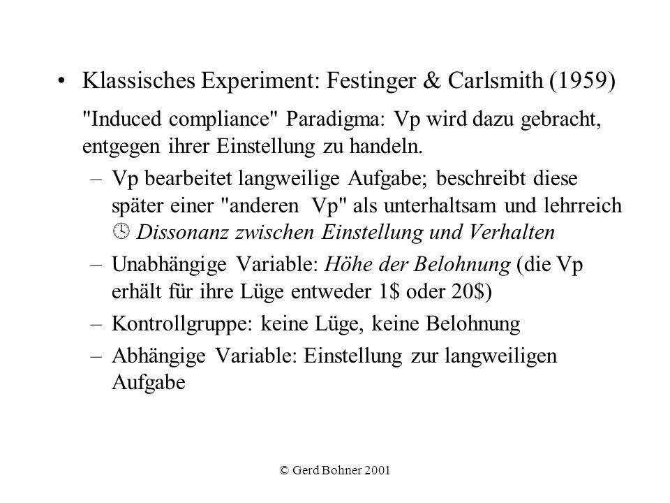 © Gerd Bohner 2001 Klassisches Experiment: Festinger & Carlsmith (1959)