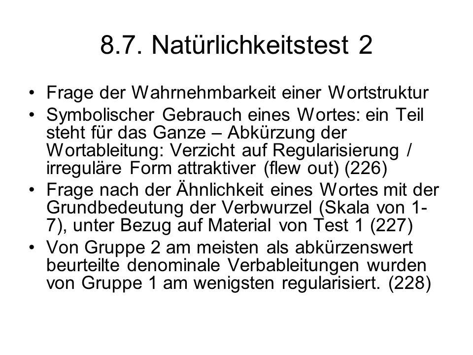 8.7. Natürlichkeitstest 2 Frage der Wahrnehmbarkeit einer Wortstruktur Symbolischer Gebrauch eines Wortes: ein Teil steht für das Ganze – Abkürzung de