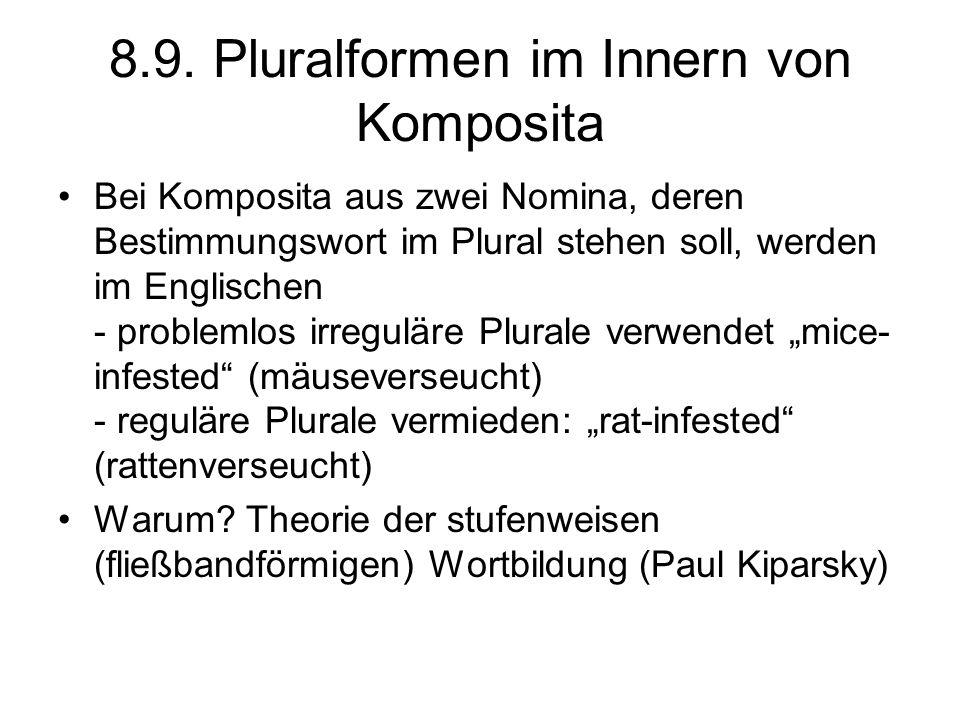 8.9. Pluralformen im Innern von Komposita Bei Komposita aus zwei Nomina, deren Bestimmungswort im Plural stehen soll, werden im Englischen - problemlo