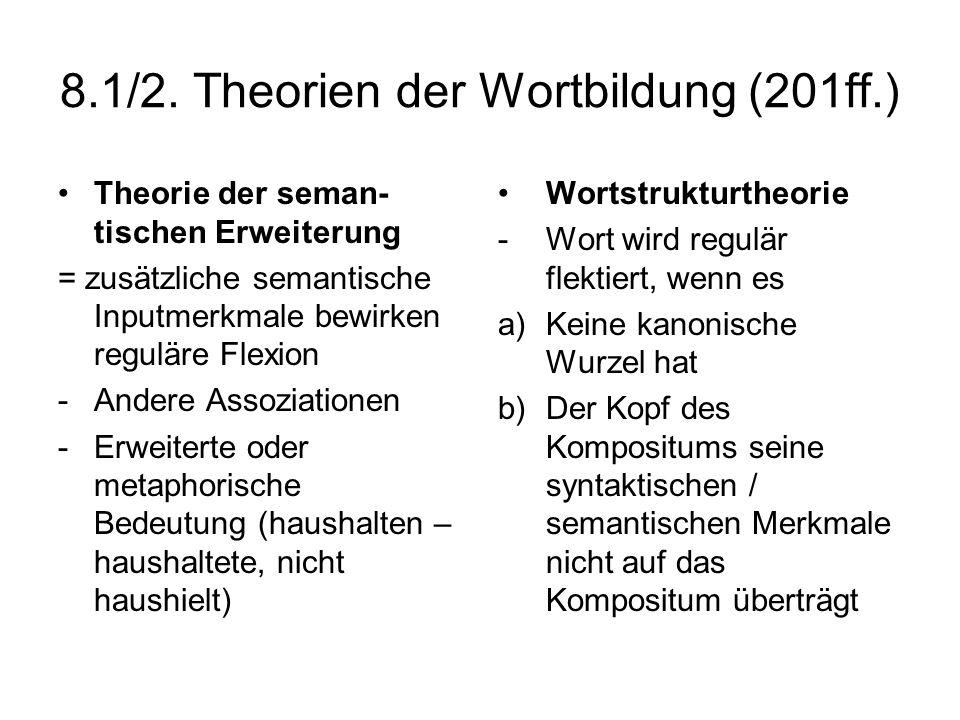 8.1/2. Theorien der Wortbildung (201ff.) Theorie der seman- tischen Erweiterung = zusätzliche semantische Inputmerkmale bewirken reguläre Flexion -And