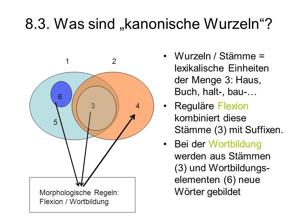 8.3. Was sind kanonische Wurzeln? Wurzeln / Stämme = lexikalische Einheiten der Menge 3: Haus, Buch, halt-, bau-… Reguläre Flexion kombiniert diese St