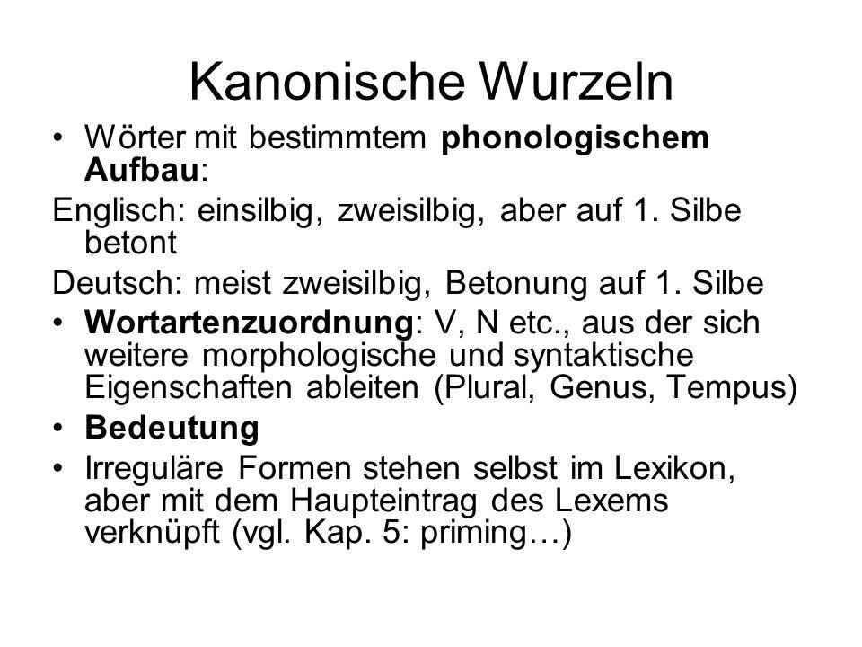 Kanonische Wurzeln Wörter mit bestimmtem phonologischem Aufbau: Englisch: einsilbig, zweisilbig, aber auf 1. Silbe betont Deutsch: meist zweisilbig, B