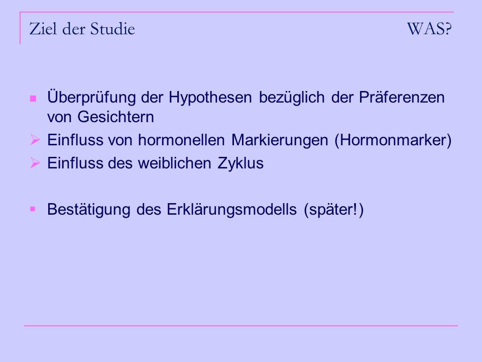 Ziel der Studie WAS? Überprüfung der Hypothesen bezüglich der Präferenzen von Gesichtern Einfluss von hormonellen Markierungen (Hormonmarker) Einfluss
