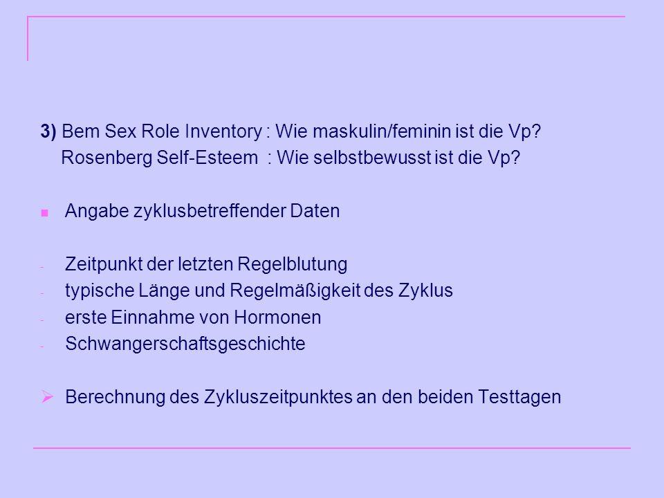3) Bem Sex Role Inventory : Wie maskulin/feminin ist die Vp.
