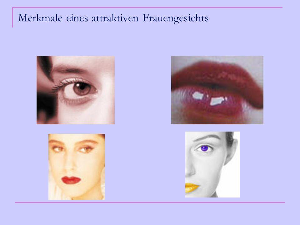 Erklärungsmodell Unser Gehirn beurteilt im Bruchteil einer Sekunde die Attraktivität einer anderen Person: Hormonmarker Gehirn erzeugt ein positives Gefühl (Attraktivität) - Östrogen/Progesteron Verhältnis während Risikotage beeinflusst die Intensität der Reaktion auf Hormonmarker Hormonmarker hatten stärkeren Einfluss auf das Attraktivitätsempfinden der Frauen als die Symmetrie des Gesichts (das Durchschnittsgesicht war am Symmetrischsten)