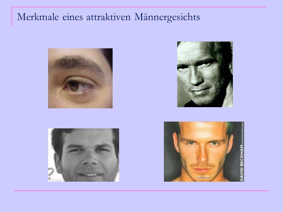 Erklärungsmodell Entstehung von Hormonmarkern während der Pubertät Männer haben die 1,5 fache Skelett- und Muskelmasse von Frauen Männer haben im Durchschnitt tiefliegendere Augen, dickere Augenbrauen, die sich näher am Auge befinden, einen breiteren Mund, eine breitere Nase und einen breiteren und längeren Unterkiefer als Frauen