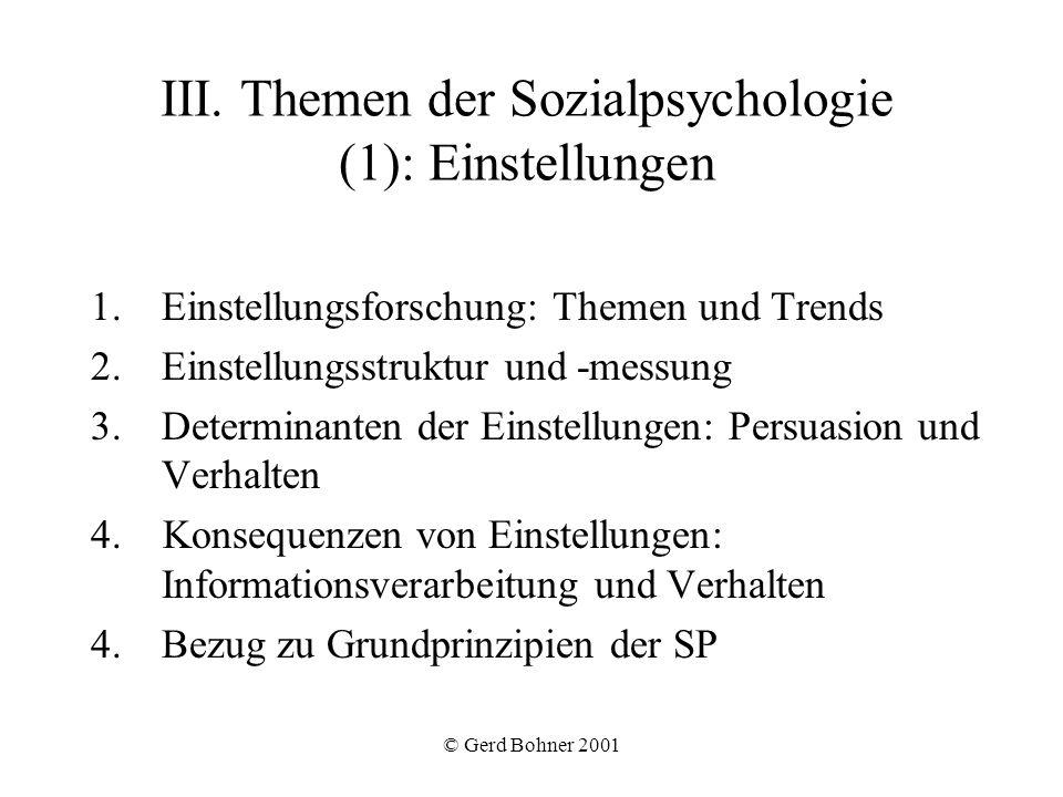 © Gerd Bohner 2001 III. Themen der Sozialpsychologie (1): Einstellungen 1.Einstellungsforschung: Themen und Trends 2.Einstellungsstruktur und -messung