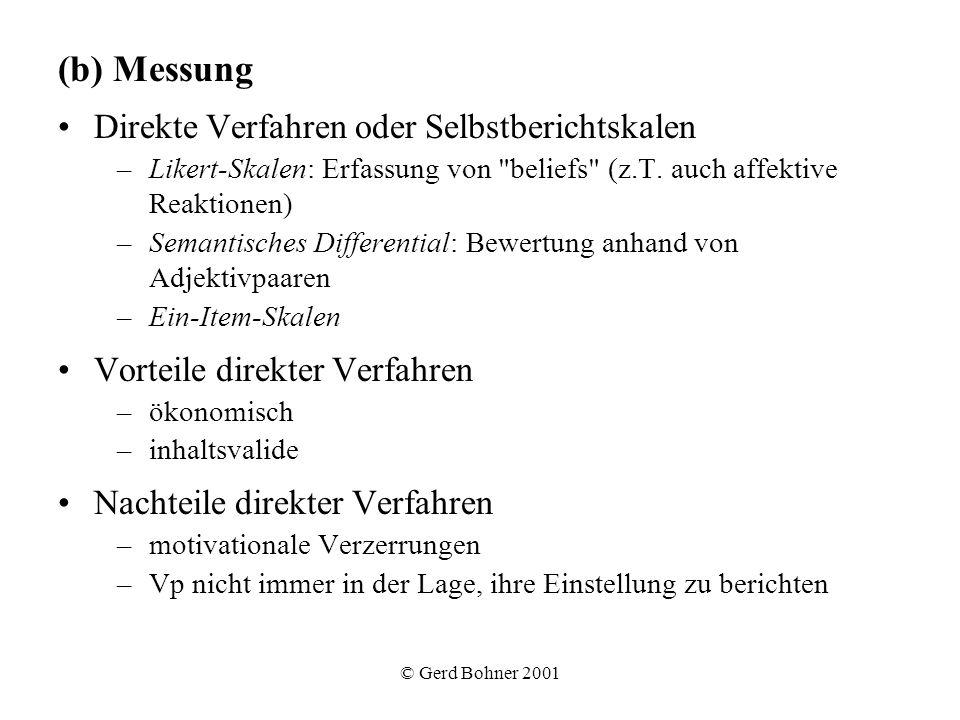 © Gerd Bohner 2001 (b) Messung Direkte Verfahren oder Selbstberichtskalen –Likert-Skalen: Erfassung von
