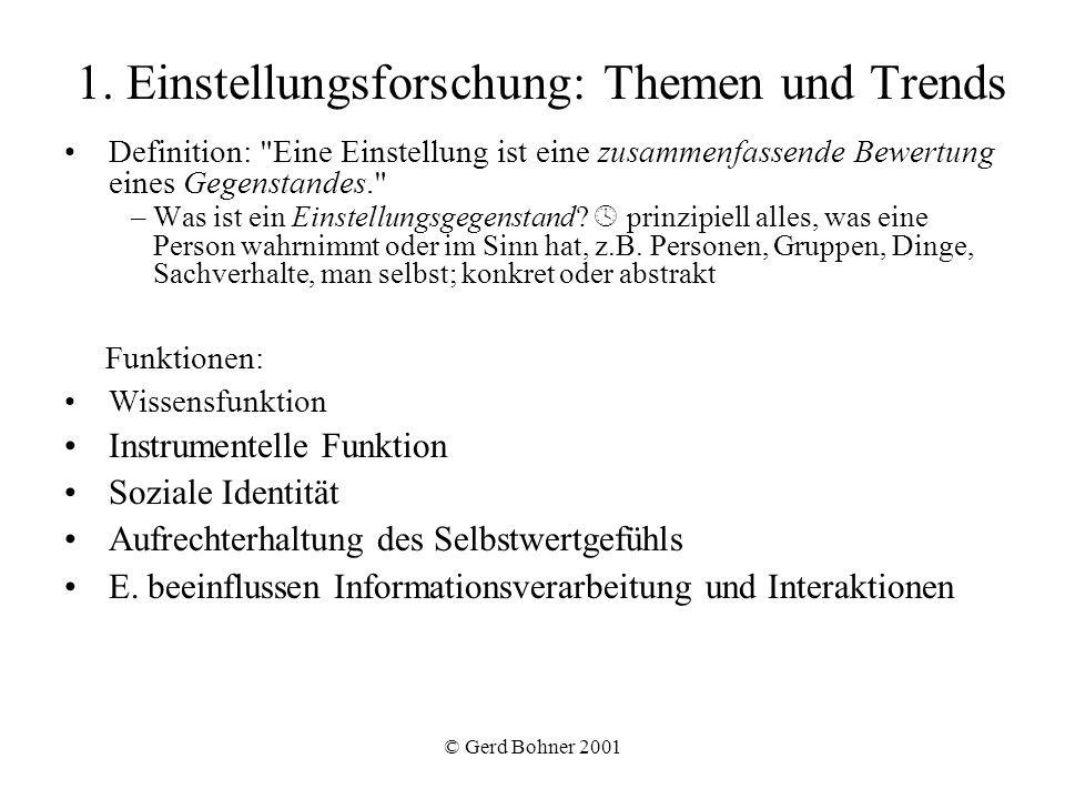 © Gerd Bohner 2001 1. Einstellungsforschung: Themen und Trends Definition: