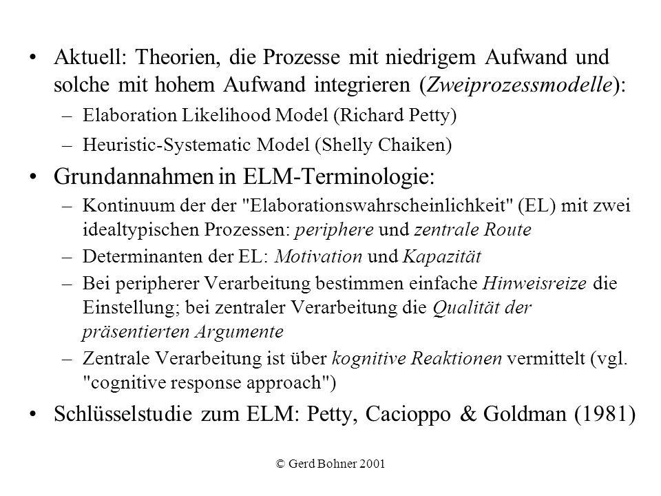 © Gerd Bohner 2001 Aktuell: Theorien, die Prozesse mit niedrigem Aufwand und solche mit hohem Aufwand integrieren (Zweiprozessmodelle): –Elaboration L