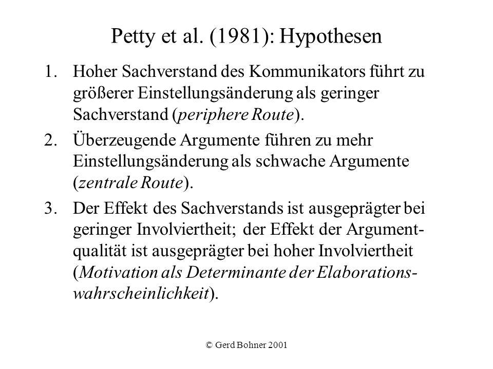 © Gerd Bohner 2001 Petty et al. (1981): Hypothesen 1.Hoher Sachverstand des Kommunikators führt zu größerer Einstellungsänderung als geringer Sachvers