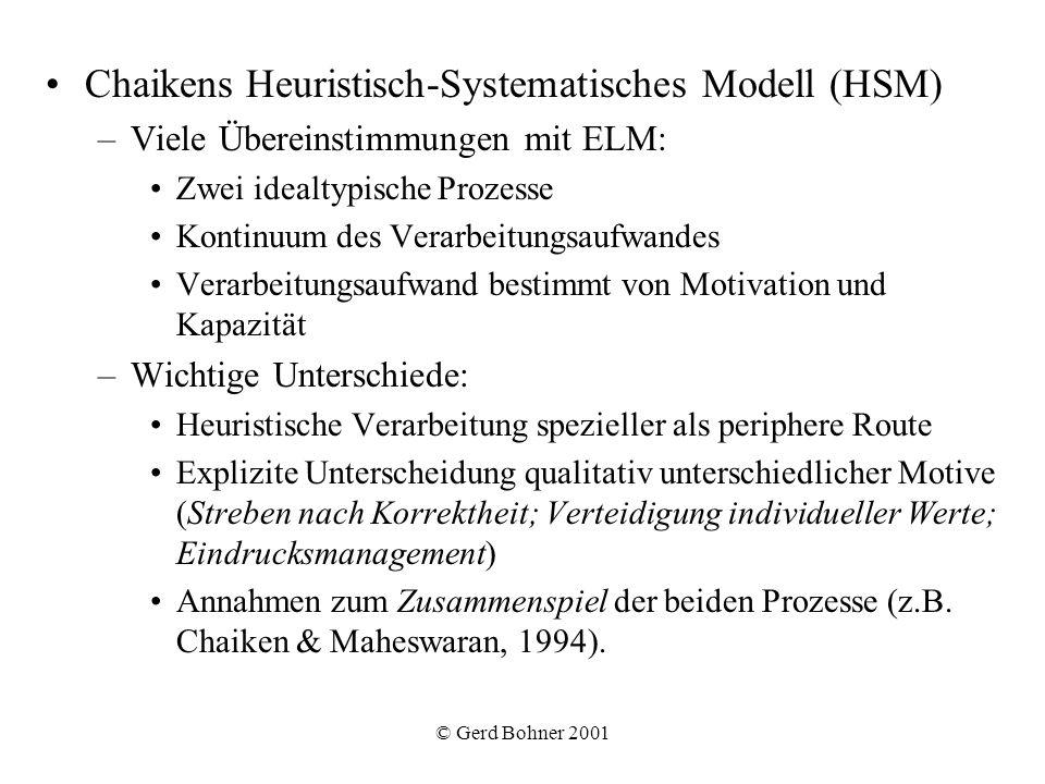 © Gerd Bohner 2001 Chaikens Heuristisch-Systematisches Modell (HSM) –Viele Übereinstimmungen mit ELM: Zwei idealtypische Prozesse Kontinuum des Verarb