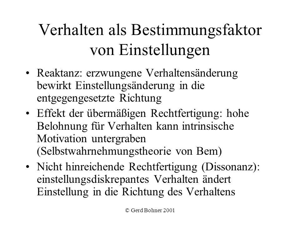 © Gerd Bohner 2001 Verhalten als Bestimmungsfaktor von Einstellungen Reaktanz: erzwungene Verhaltensänderung bewirkt Einstellungsänderung in die entge