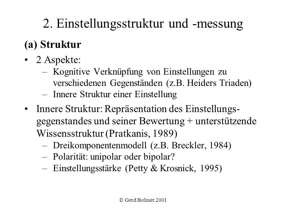 © Gerd Bohner 2001 2. Einstellungsstruktur und -messung (a) Struktur 2 Aspekte: –Kognitive Verknüpfung von Einstellungen zu verschiedenen Gegenständen