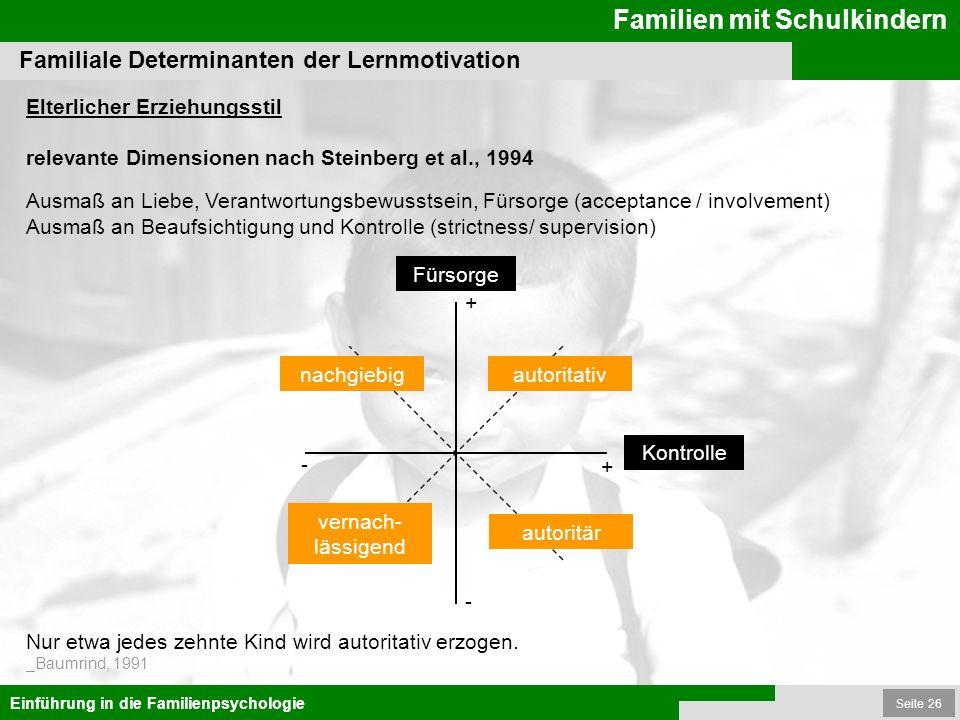 Seite 26 Familien mit Schulkindern Einführung in die Familienpsychologie Familiale Determinanten der Lernmotivation relevante Dimensionen nach Steinbe