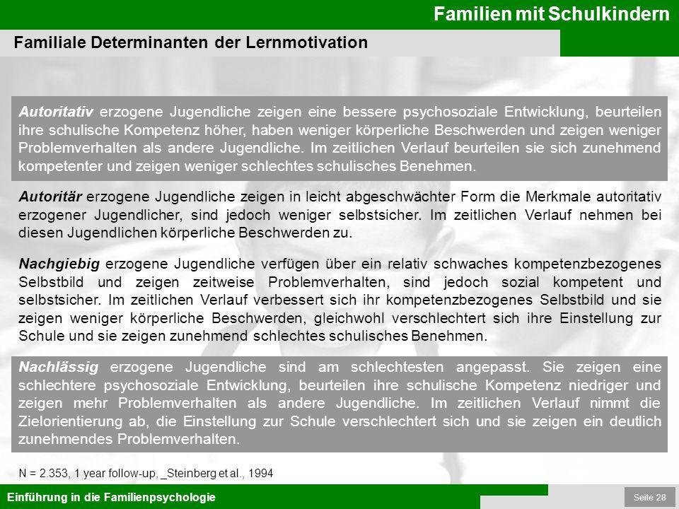 Seite 28 Familien mit Schulkindern Einführung in die Familienpsychologie Familiale Determinanten der Lernmotivation N = 2.353, 1 year follow-up, _Stei