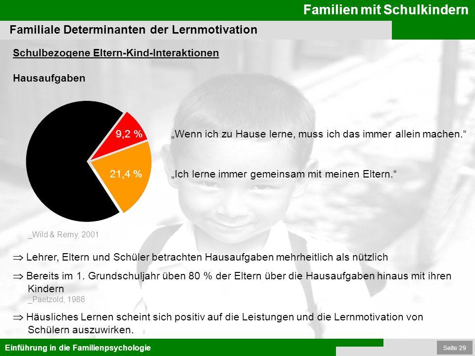 Seite 29 Familien mit Schulkindern Einführung in die Familienpsychologie Schulbezogene Eltern-Kind-Interaktionen Hausaufgaben Familiale Determinanten