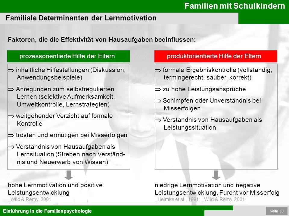 Seite 30 Familien mit Schulkindern Einführung in die Familienpsychologie Faktoren, die die Effektivität von Hausaufgaben beeinflussen: Familiale Deter