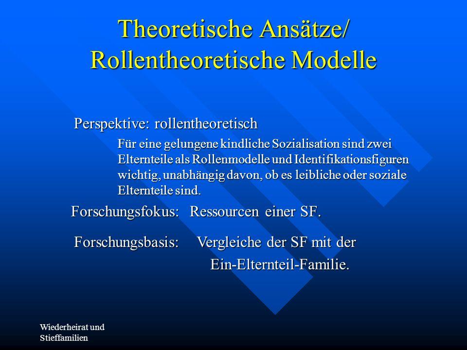Wiederheirat und Stieffamilien Theoretische Ansätze/ Rollentheoretische Modelle Perspektive: rollentheoretisch Für eine gelungene kindliche Sozialisat