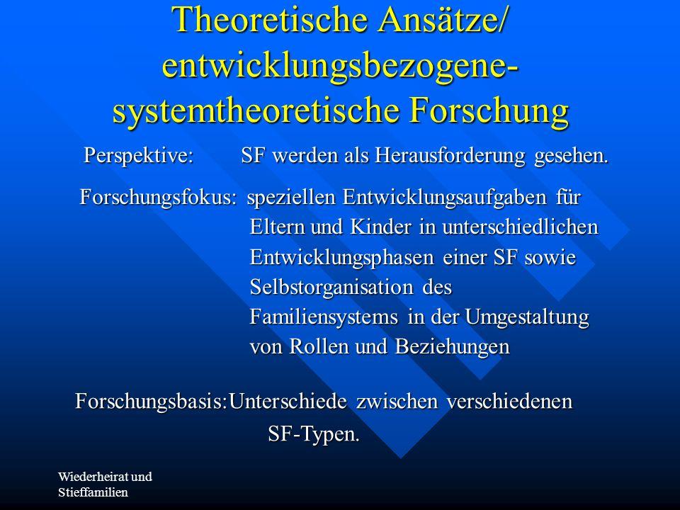 Wiederheirat und Stieffamilien Theoretische Ansätze/ entwicklungsbezogene- systemtheoretische Forschung Perspektive: SF werden als Herausforderung ges