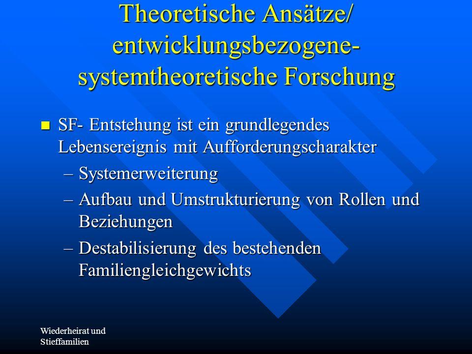 Wiederheirat und Stieffamilien Theoretische Ansätze/ entwicklungsbezogene- systemtheoretische Forschung SF- Entstehung ist ein grundlegendes Lebensere