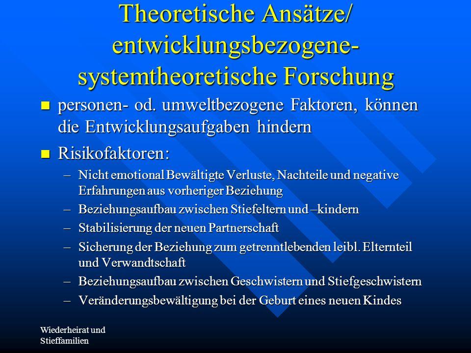 Wiederheirat und Stieffamilien Theoretische Ansätze/ entwicklungsbezogene- systemtheoretische Forschung personen- od. umweltbezogene Faktoren, können