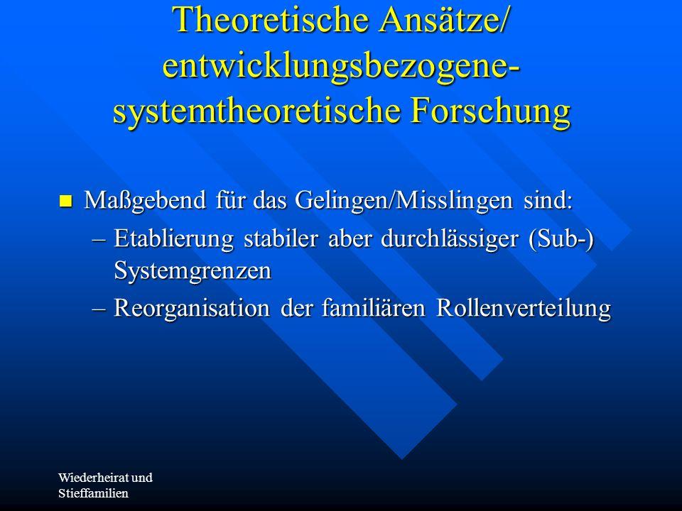 Wiederheirat und Stieffamilien Theoretische Ansätze/ entwicklungsbezogene- systemtheoretische Forschung Maßgebend für das Gelingen/Misslingen sind: Ma