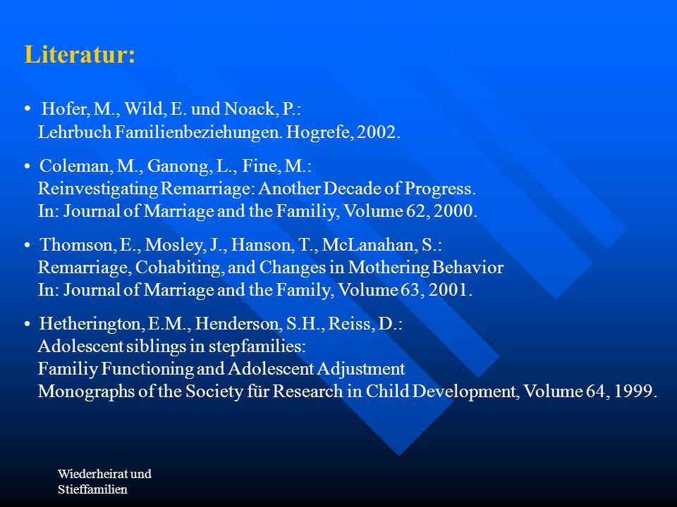 Wiederheirat und Stieffamilien Literatur: Hofer, M., Wild, E. und Noack, P.: Lehrbuch Familienbeziehungen. Hogrefe, 2002. Coleman, M., Ganong, L., Fin