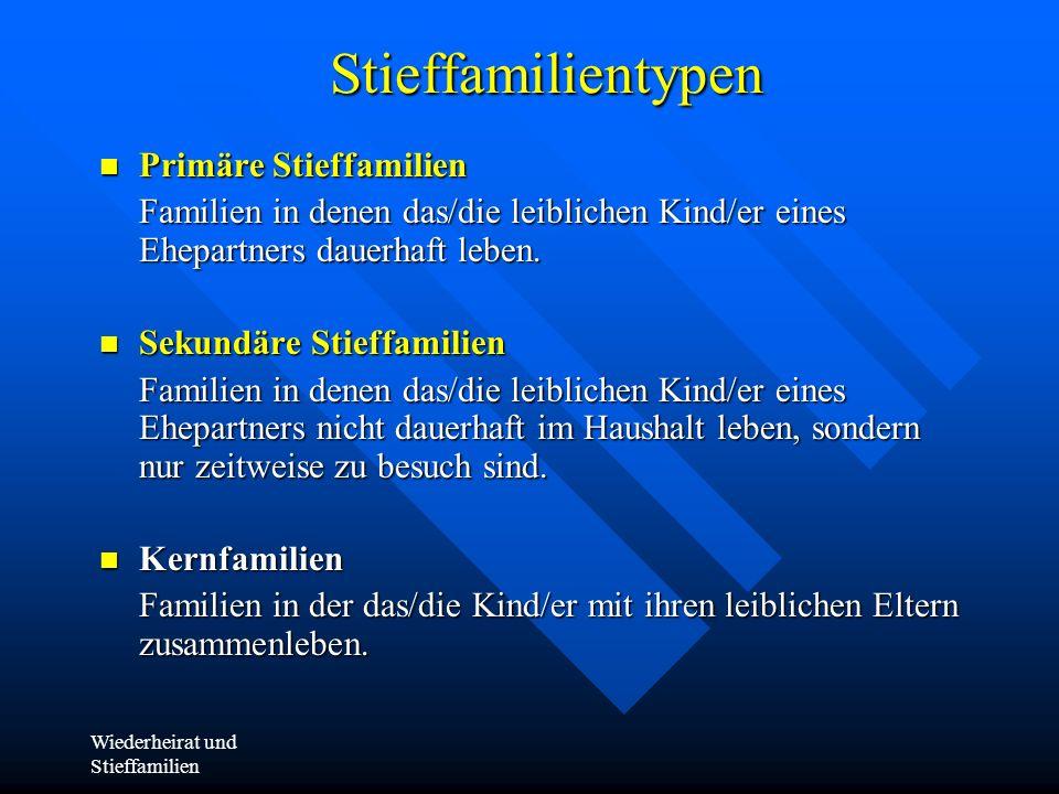 Wiederheirat und StieffamilienStieffamilientypen Primäre Stieffamilien Primäre Stieffamilien Familien in denen das/die leiblichen Kind/er eines Ehepar