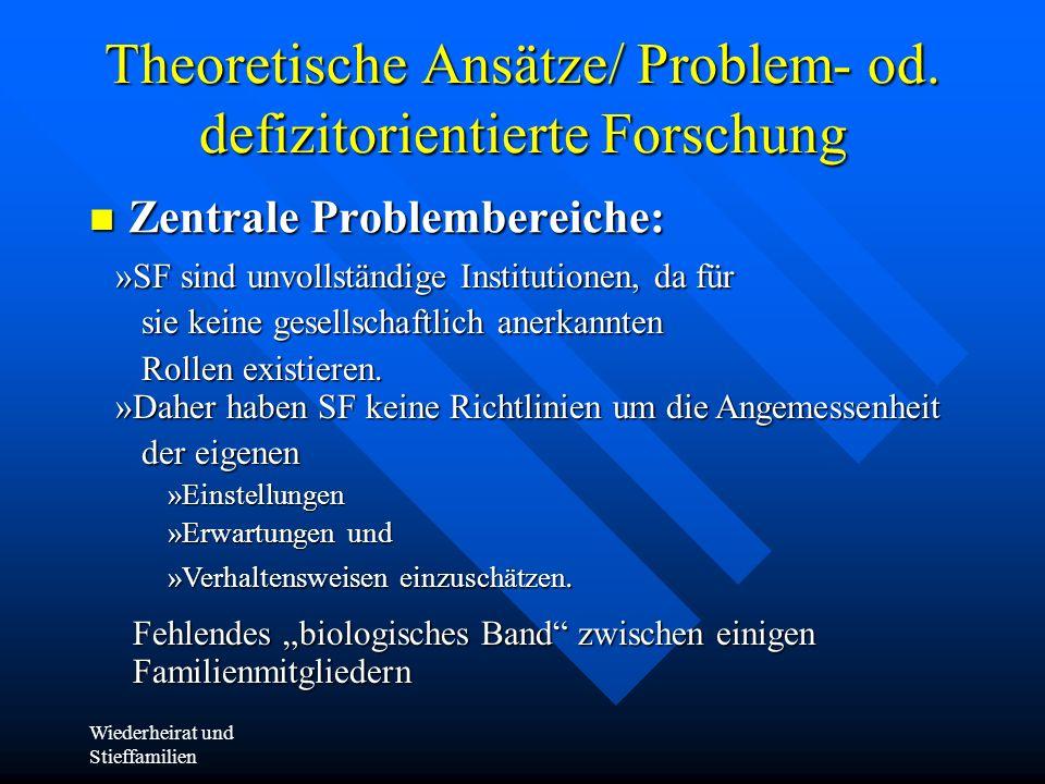 Wiederheirat und Stieffamilien Theoretische Ansätze/ Problem- od. defizitorientierte Forschung Zentrale Problembereiche: Zentrale Problembereiche: »SF