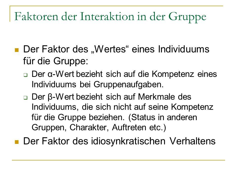 Faktoren der Interaktion in der Gruppe Der Faktor der Hingezogenheit zu einer Gruppe gibt an, inwiefern sich das Individuum einer Gruppe verbunden fühlt.