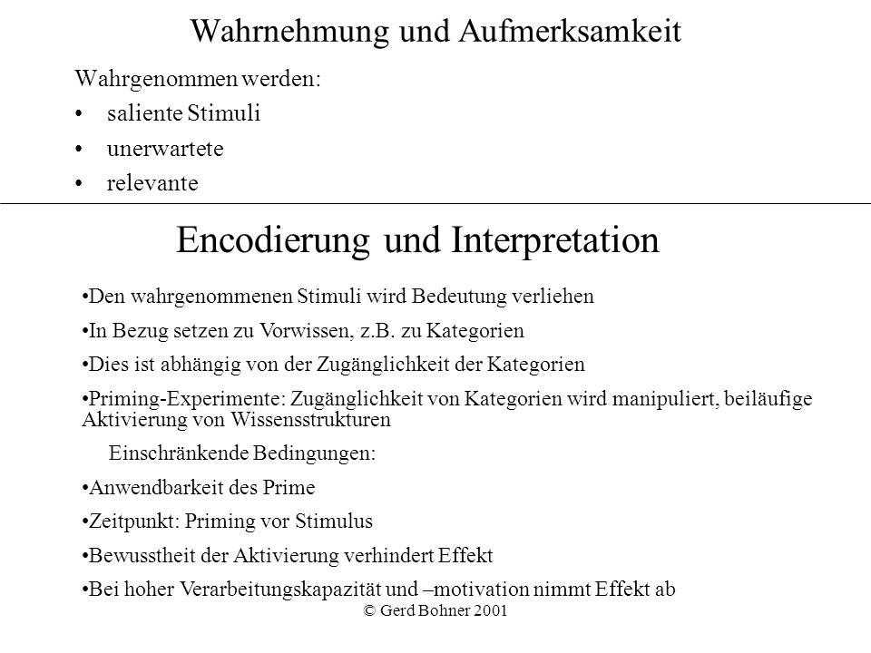 © Gerd Bohner 2001 Wahrnehmung und Aufmerksamkeit Wahrgenommen werden: saliente Stimuli unerwartete relevante Den wahrgenommenen Stimuli wird Bedeutun