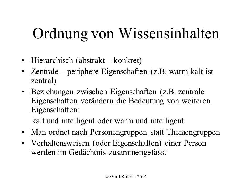 © Gerd Bohner 2001 Ordnung von Wissensinhalten Hierarchisch (abstrakt – konkret) Zentrale – periphere Eigenschaften (z.B. warm-kalt ist zentral) Bezie