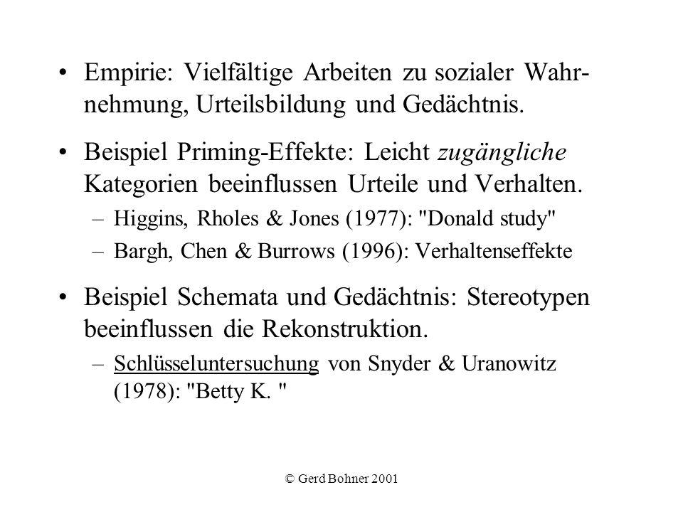 © Gerd Bohner 2001 Empirie: Vielfältige Arbeiten zu sozialer Wahr- nehmung, Urteilsbildung und Gedächtnis. Beispiel Priming-Effekte: Leicht zugänglich