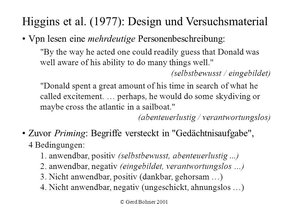 © Gerd Bohner 2001 Higgins et al. (1977): Design und Versuchsmaterial Vpn lesen eine mehrdeutige Personenbeschreibung: