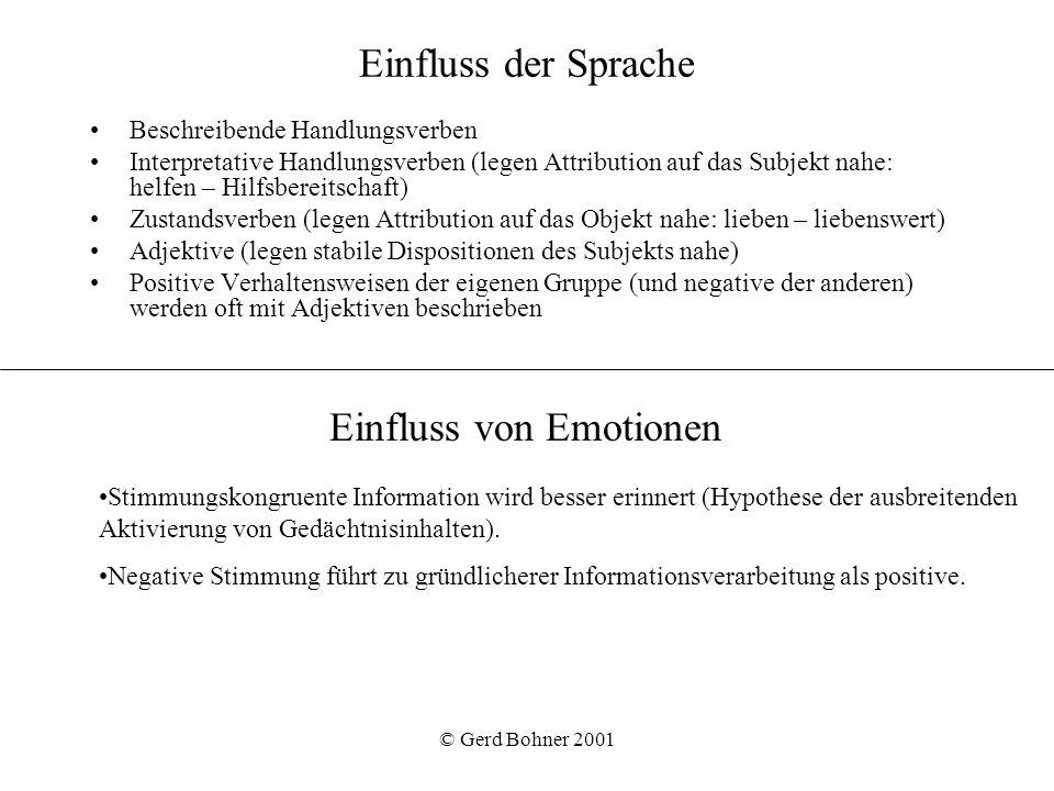 © Gerd Bohner 2001 Einfluss der Sprache Beschreibende Handlungsverben Interpretative Handlungsverben (legen Attribution auf das Subjekt nahe: helfen –