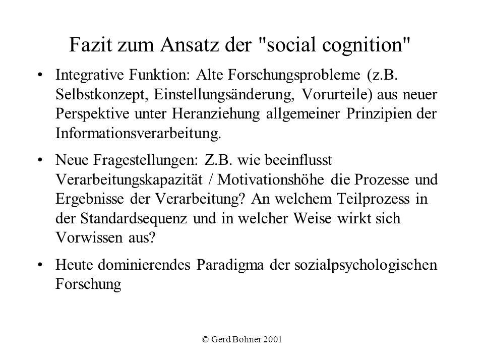 © Gerd Bohner 2001 Fazit zum Ansatz der