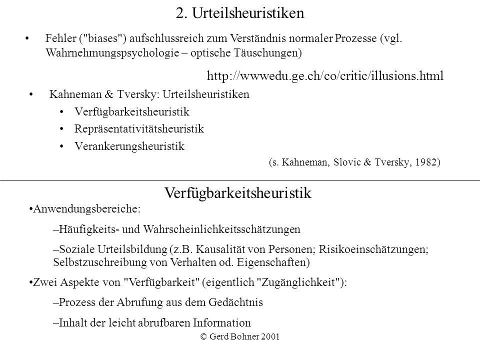 © Gerd Bohner 2001 2. Urteilsheuristiken Kahneman & Tversky: Urteilsheuristiken Verfügbarkeitsheuristik Repräsentativitätsheuristik Verankerungsheuris
