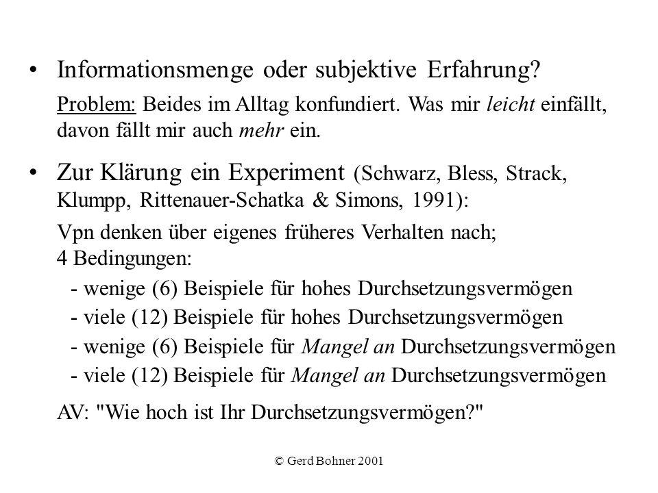 © Gerd Bohner 2001 Hypothesen: -Wenn Leichtigkeit des Abrufs entscheidend, dann führen wenige positive Beispiele (da leichter abrufbar) zu positiveren Urteilen als viele positive Beispiele.