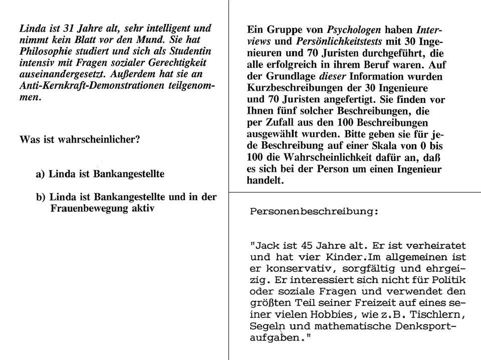 © Gerd Bohner 2001 Verankerungsheuristik Ausgangswert bei einer kognitiven Operation beeinflusst das Ergebnis.