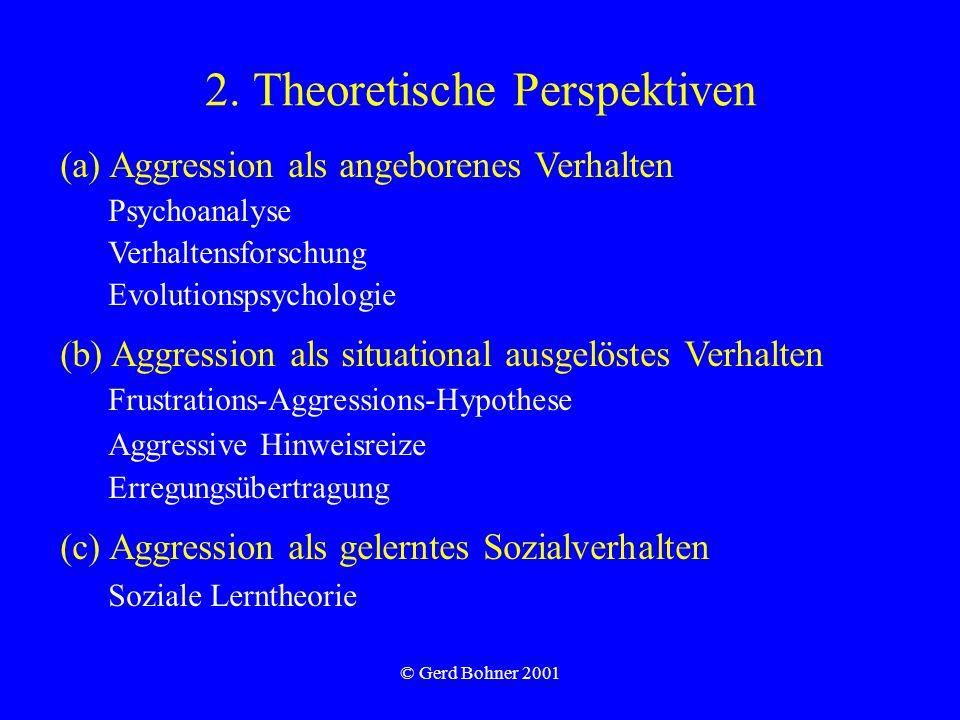 © Gerd Bohner 2001 2. Theoretische Perspektiven (a) Aggression als angeborenes Verhalten Psychoanalyse Verhaltensforschung Evolutionspsychologie (b) A