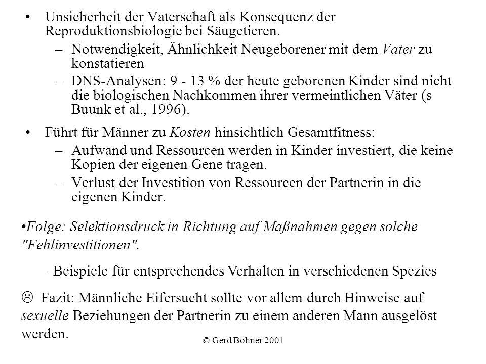 © Gerd Bohner 2001 Unsicherheit der Vaterschaft als Konsequenz der Reproduktionsbiologie bei Säugetieren. –Notwendigkeit, Ähnlichkeit Neugeborener mit