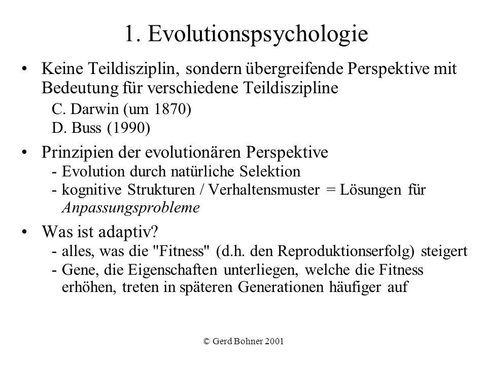 © Gerd Bohner 2001 Eifersuchtsindex (0 = Emo bis 5 = Sex) M / F.26* (.10) 76*.21* Maskulinität /Femininität und biologisches Geschlecht als Prädiktoren von Eifersucht (Bohner, 2001) * p <.001 Biologisches Geschlecht (1 = w, 2 = m)