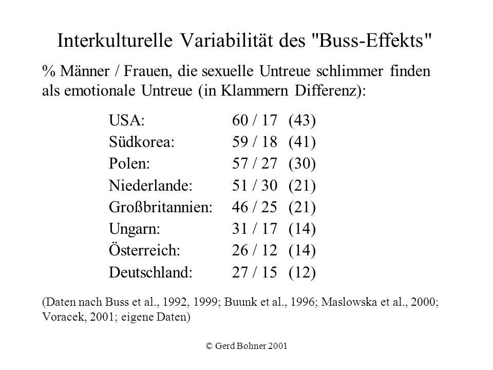 © Gerd Bohner 2001 Interkulturelle Variabilität des