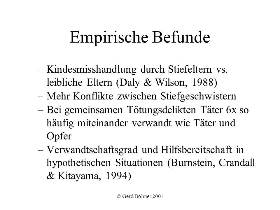 © Gerd Bohner 2001 Empirische Befunde –Kindesmisshandlung durch Stiefeltern vs. leibliche Eltern (Daly & Wilson, 1988) –Mehr Konflikte zwischen Stiefg