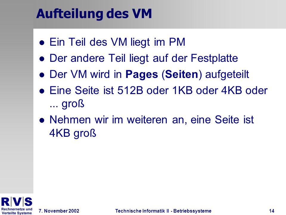 Technische Informatik II - Betriebssysteme 7. November 2002Technische Informatik II - Betriebssysteme14 Aufteilung des VM Ein Teil des VM liegt im PM