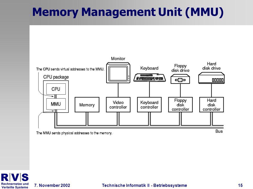 Technische Informatik II - Betriebssysteme 7. November 2002Technische Informatik II - Betriebssysteme15 Memory Management Unit (MMU)